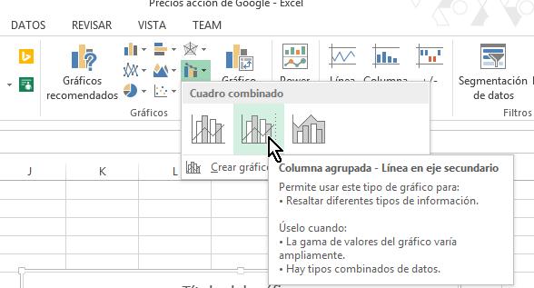 Botón para crear gráfica de Columna agrupada - Línea en eje secundario en cómo hacer una gráfica combinada en Excel 2013