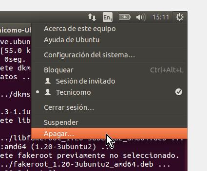 Opción Apagar... del menú en cómo instalar los Guest Additions de VirtualBox en Ubuntu