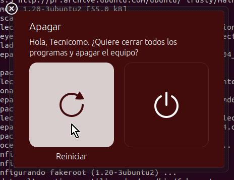 Botón para reiniciar Ubuntu en cómo instalar los Guest Additions de VirtualBox en Ubuntu