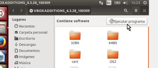 Botón Ejecutar programa en cómo instalar los Guest Additions de VirtualBox en Ubuntu