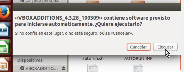 Botón Ejecutar para instalar los GuestAdditions en cómo instalar los Guest Additions de VirtualBox en Ubuntu