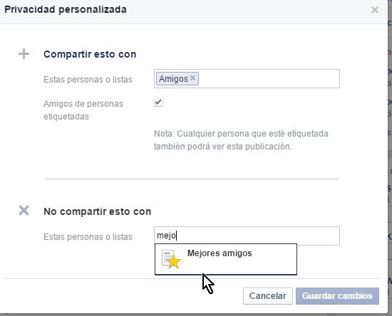 Opciones para ocultar un estado Botón para mostrar más opciones de privacidad en cómo personalizar la privacidad de un estado en Facebook