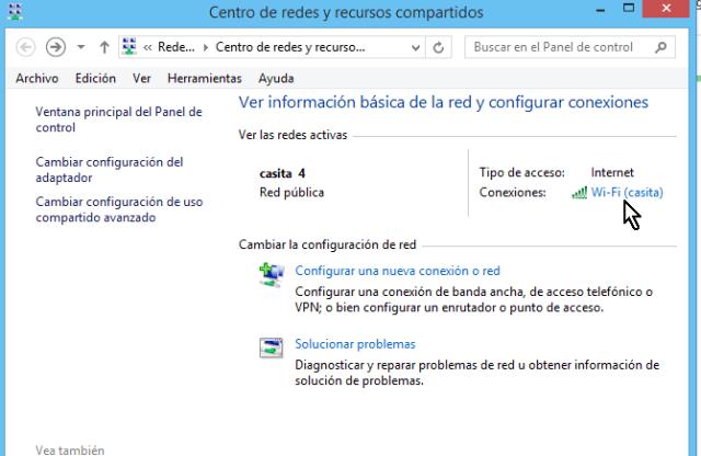 Enlace para entrar a las propiedades de la red Wi-Fi en cómo ver la clave del Wi-Fi en Windows 8