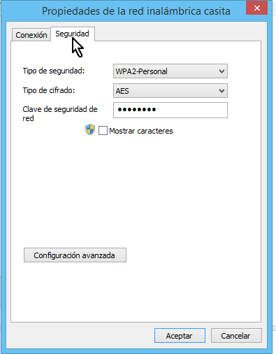 Pestaña Seguridad de las Propiedades de la red inalábrica en cómo ver la clave del Wi-Fi en Windows 8