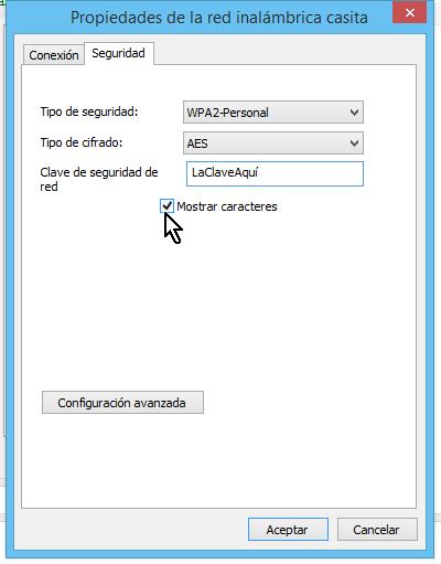 Casilla Mostar caracteres marcada para mostrar la clave del Wi-Fi en cómo ver la clave del Wi-Fi en Windows 8