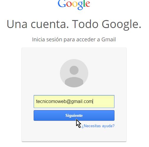 Entra tu dirección de correo electrónico en cómo cambiar la contraseña de Gmail