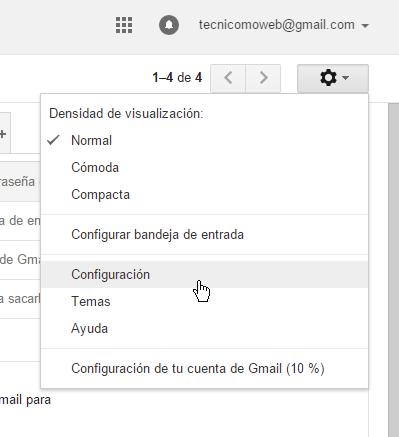 Menú de Configuración de Gmail en cómo cambiar la contraseña de Gmail