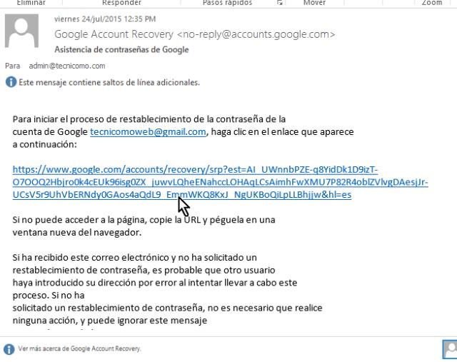 Ejemplo el correo enviado por Google en cómo cambiar la contraseña de Gmail