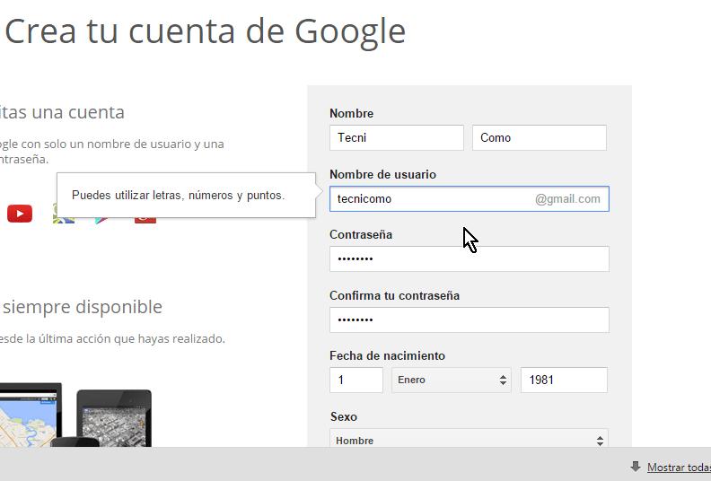 Cómo crear una cuenta de Gmail en español - TecniComo