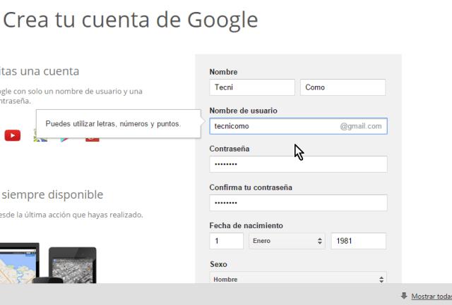 Forma para entrar los datos para la cuenta de Gmail como nombre, apellido, nombre de usuario, etc. en cómo crear una cuenta de Gmail en español