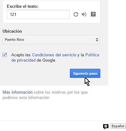 Botón Siguiente paso para continuar con la creación de la cuenta de Gmail en cómo crear una cuenta de Gmail en español