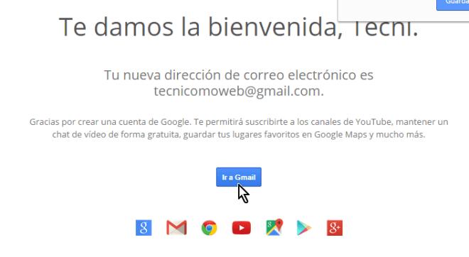 Mensaje de bienvenida a Gmail en cómo crear una cuenta de Gmail en español