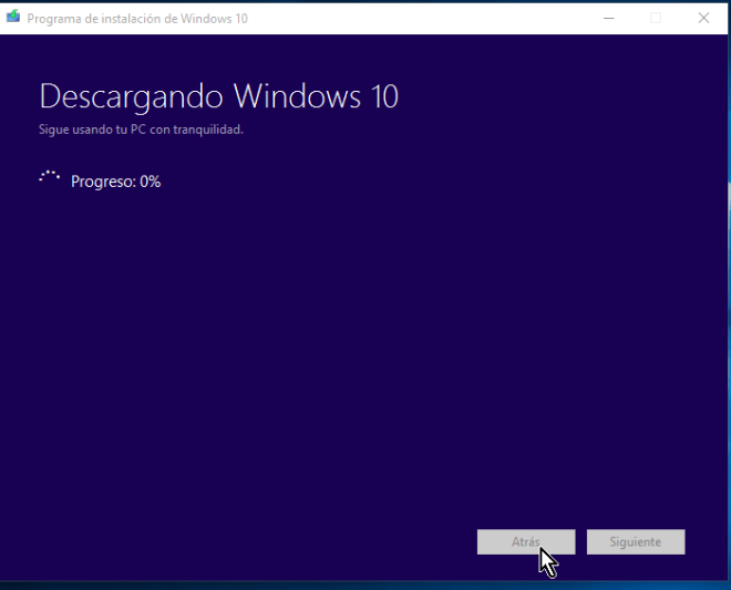 Indicador del progreso de la descarga de Windows 10 en cómo descargar e instalar Windows 10 inmediatamente