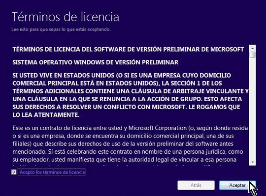 Términos de la licencia y botón para aceptación de la licencia de uso de Windows 10 en cómo descargar e instalar Windows 10 inmediatamente