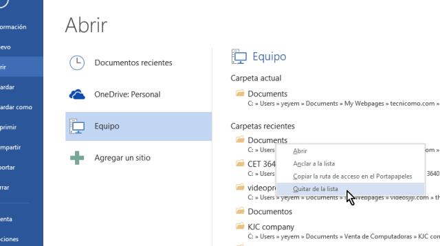 Eliminando una carpeta recientemente usada en cómo eliminar elementos de la lista de Documentos recientes en Office 2013