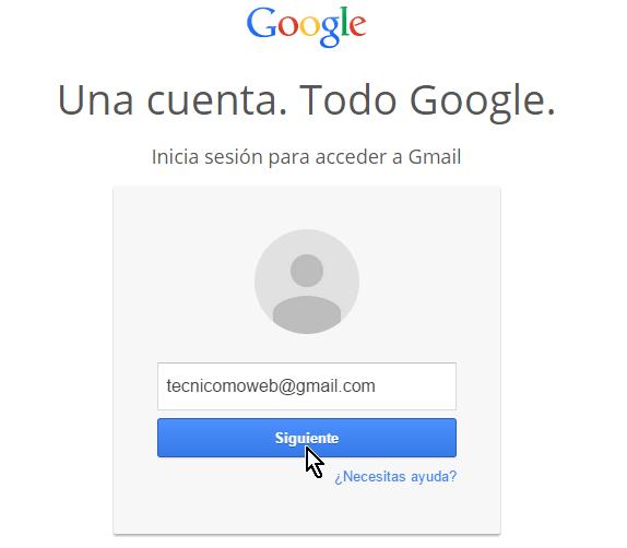Caja de texto para entrar la dirección de correo de Gmail en cómo iniciar una sesión de Gmail