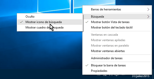 Opción para mostrar el ícono de búsqueda en cómo ocultar el cuadro de búsqueda en el Escritorio de Windows 10