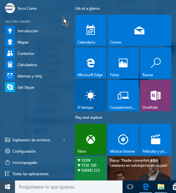 Ejemplo de un menú de Inicio en Windows 10 en cómo acceder al menú de Inicio en Windows 10
