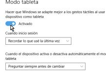 Botón mostrando Modo tableta Activado en cómo activar el modo tableta manualmente en Windows 10