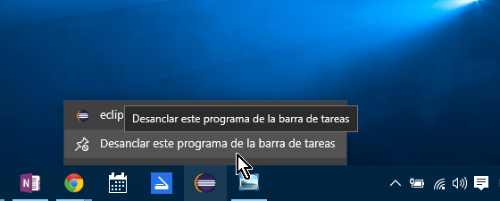 Menú para desanclar un programa de la barra de tareas en cómo anclar o desanclar programas en la barra de tareas en Windows 10