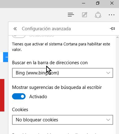 Opción Buscar en la barra de direcciones con en cómo cambiar el motor de búsqueda predeterminado en Microsoft Edge