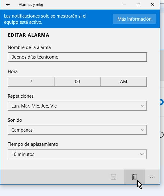 Botón para borrar una alarma en cómo crear una alarma en Windows 10