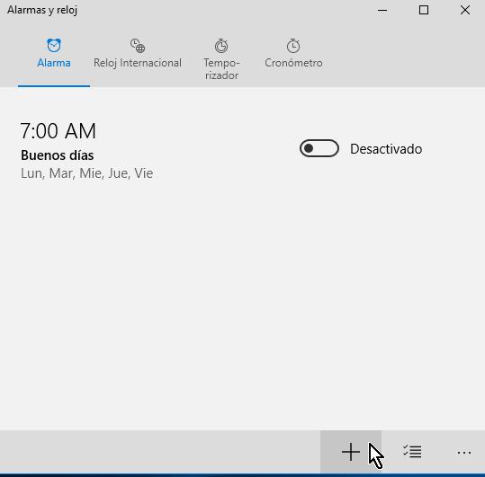Botón para crear una nueva alarma en cómo crear una alarma en Windows 10