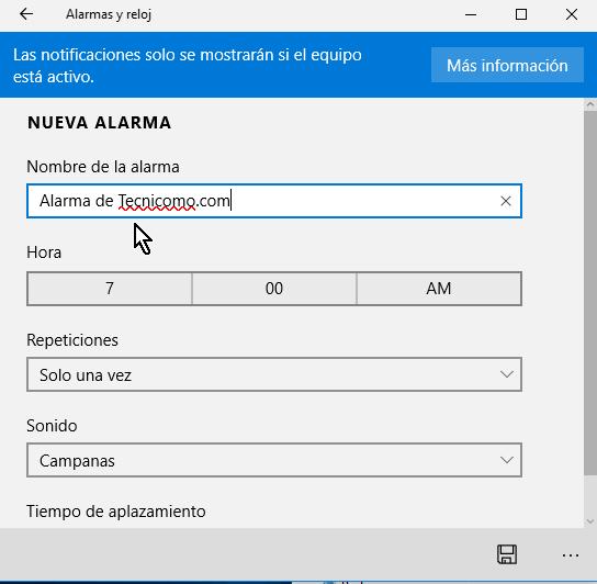 Campo para indicar el nombre de la alarma en cómo crear una alarma en Windows 10