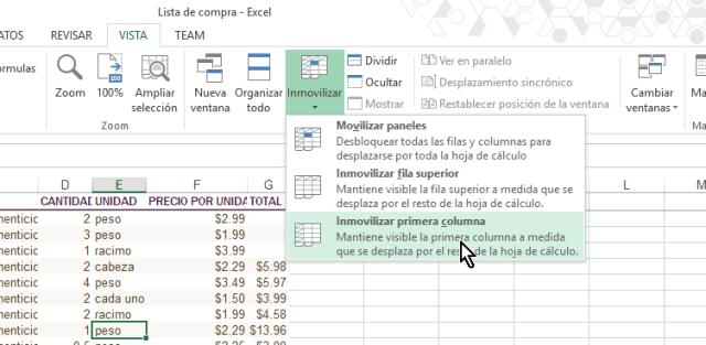 Opción para Inmovilizar primera columna en cómo inmovilizar filas y columnas en Excel 2013