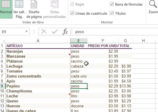 Ejemplo de columna congelada en Excel en cómo inmovilizar filas y columnas en Excel 2013