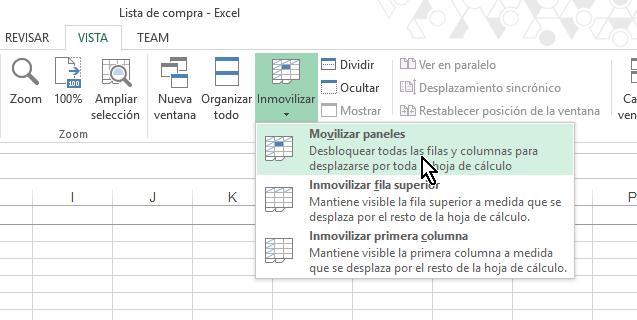 Opción para Movilizar paneles en cómo inmovilizar filas y columnas en Excel 2013