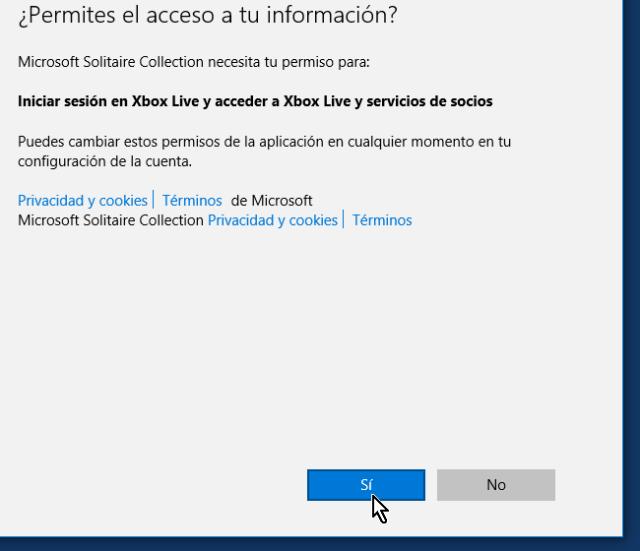 Pantalla preguntando los permisos para tu información en cómo jugar solitario en Windows 10