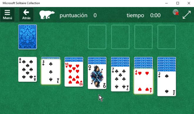 Pantalla principal del juego solitario en cómo jugar solitario en Windows 10