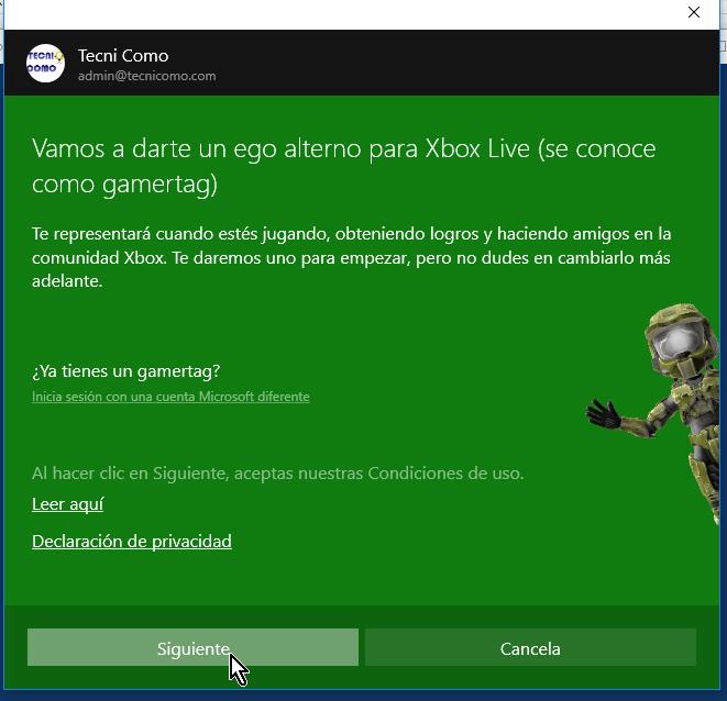 Cliquea el botón Siguiente para iniciar sesión de XBox Live en cómo jugar solitario en Windows 10