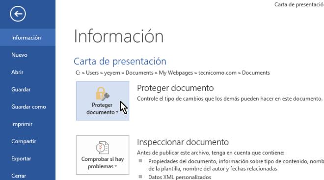 Opción Proteger documento del menú Información en cómo proteger un documento de Word poniéndole contraseña