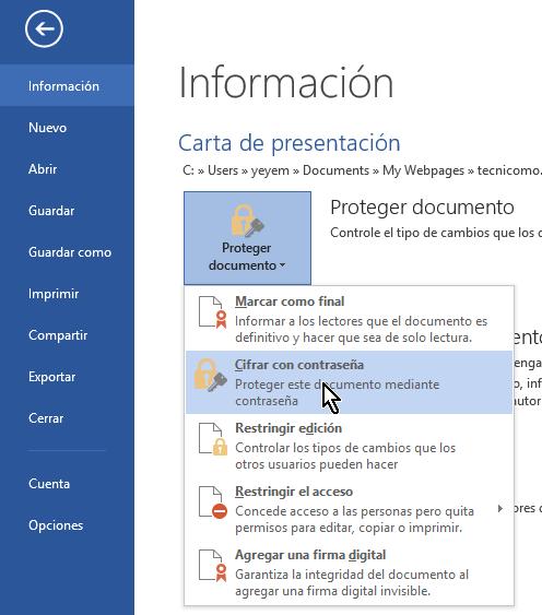 Opción Cifrar con contraseña del menú Proteger documento en cómo proteger un documento de Word poniéndole contraseña