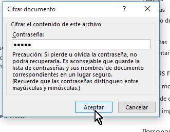 Ventana emergente para cifrar contraseña o clave de documento en cómo proteger un documento de Word poniéndole contraseña