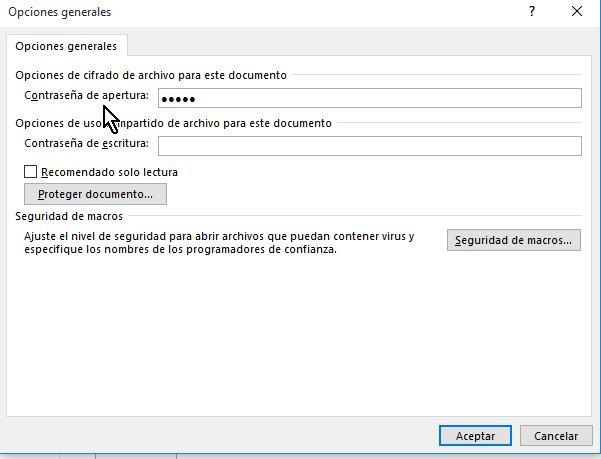 Caja de texto para entrar la contraseña de apertura en cómo proteger un documento de Word poniéndole contraseña