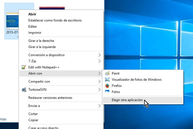 Opción Elegir otra aplicación en cómo usar por defecto el Visualizador de fotos de Windows para abrir imágenes