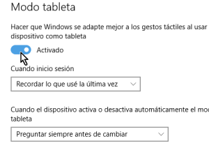 Cómo activar el modo tableta manualmente en Windows 10