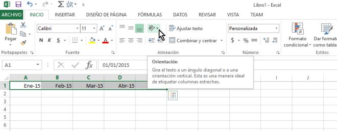 Botón Orientaicón para cambiar la orientación de las celdas en Excel 2013