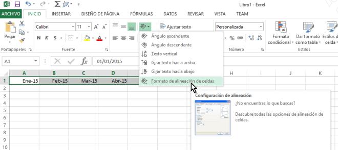 Botón Formato de alineación de celdas para personalizar la orientación