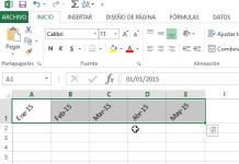 Ejemplo mostrando celdas cuya orientación fue cambiada en Excel 2013