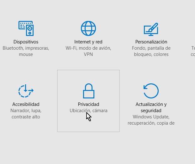 Botón para acceder las opciones de Privacidad de Windows 10 en cómo cambiar las opciones de privacidad en Windows 10