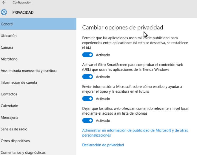 Lista de las 4 opciones generales de seguridad de Windows 10 en cómo cambiar las opciones de privacidad en Windows 10