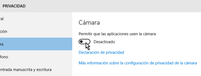 Control deslizable de la cámara Desactivado en Windows 10