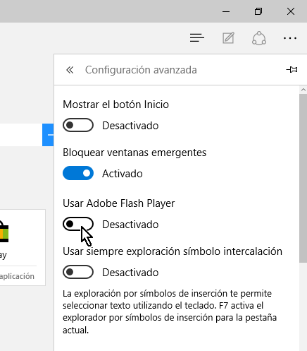 Desactivando el control deslizable que dice Usar Adobe Flash Player en cómo habilitar o deshabilitar Adobe Flash Player en Microsoft Edge