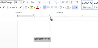 Sangría derecha desplazada hasta cubrir el texto en cómo colocar una raya encima del texto en Word 2013