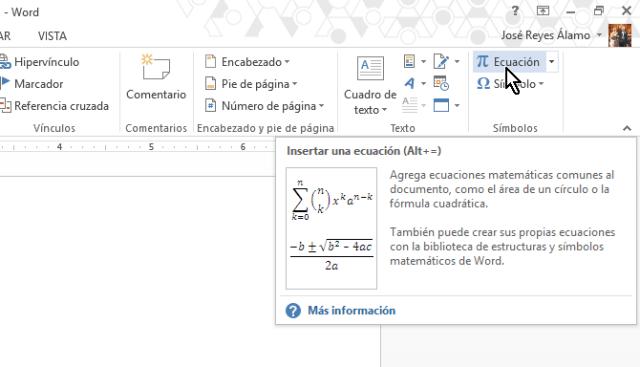 Botón para añadir una ecuación matemática en cómo colocar una raya encima del texto en Word 2013