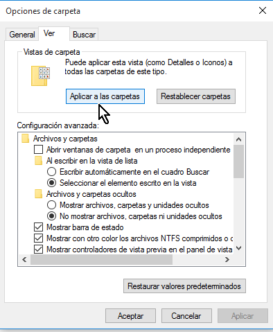 Opciones bajo el grupo Vistas de carpeta en cómo configurar las opciones de carpeta en Windows 10